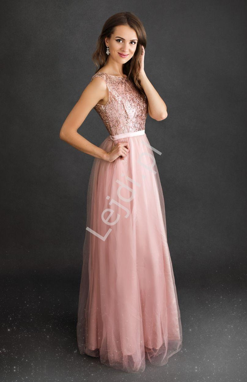 Jasnoróżowa sukienka z brokatową górą 2225 - Lejdi