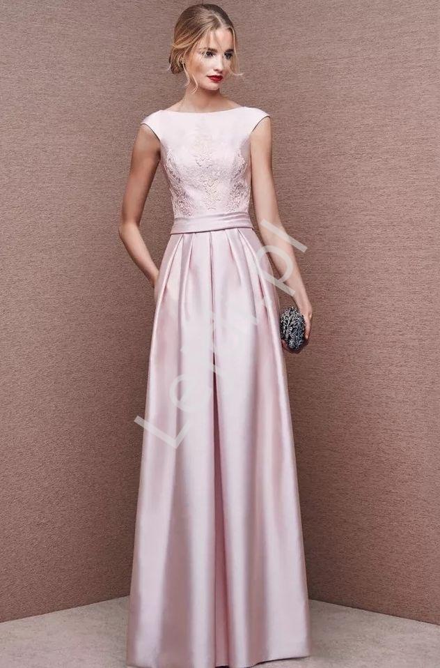 Jasnoróżowa suknia wieczorowa z koronką Joanna - Lejdi