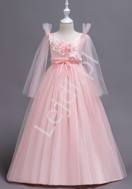 Jasnoróżowa Tiulowa Długa Sukienka Dla Dziewczynki 152
