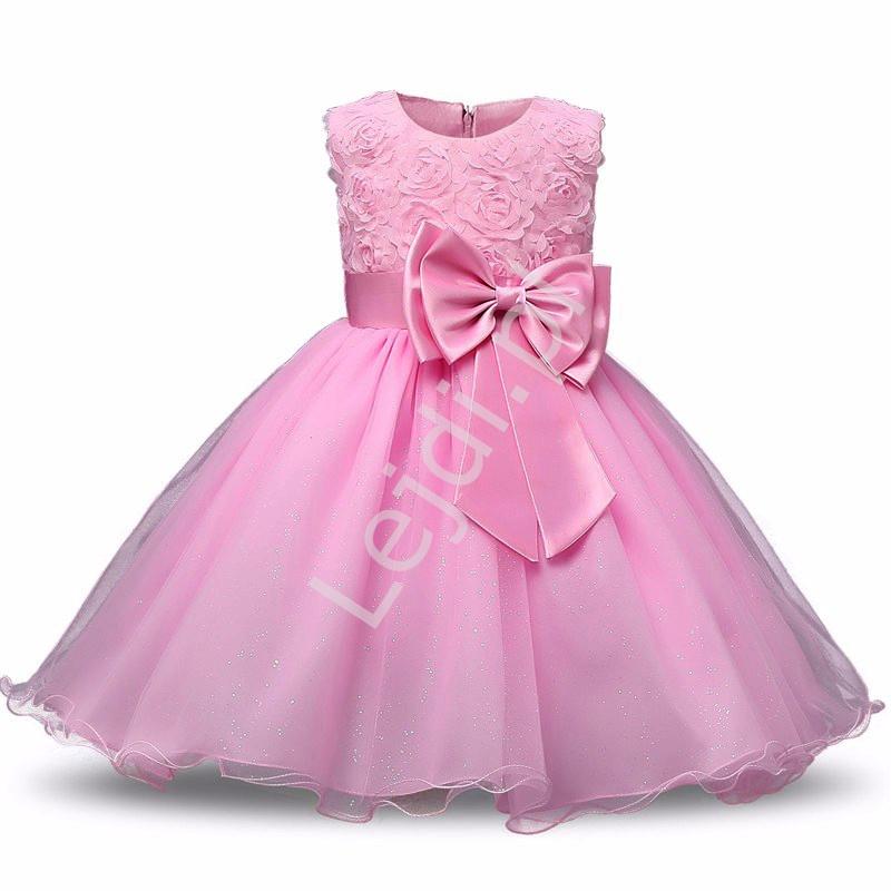 Jasny wrzos tiulowa sukienka dla dziewczynki z różami - Lejdi