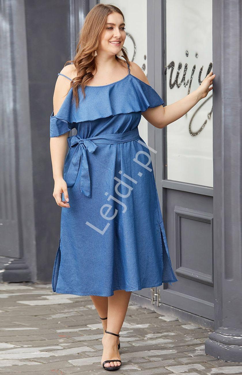 Jeansowa sukienka z falbanami Plus Size - Lejdi