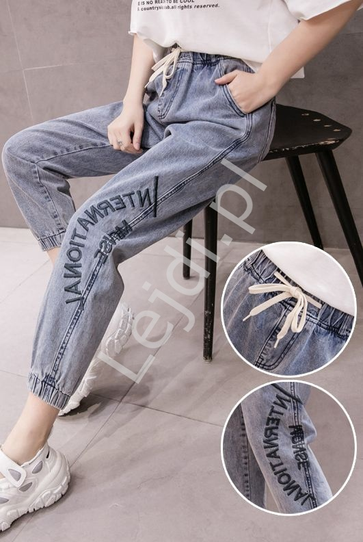 Jeansy damskie z napisami na gumce - Lejdi