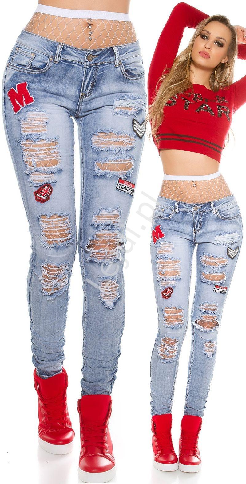 Jeansy z modnymi dziurami i naszywkami P507 - Lejdi