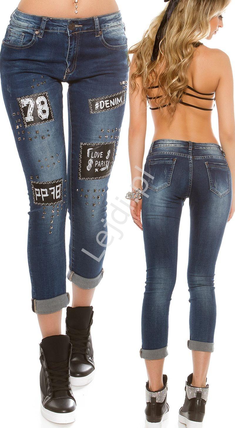 Jeansy z skórkowymi naszywkami i jetami C9124 - Lejdi