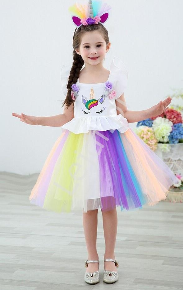 Jednorożec sukienka dla dziewczynki z kolorową tiulową spódnicą 090 - Lejdi