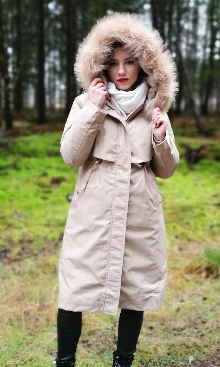 Karmelowa parka z ciepłą podpinką, damska kurtka 2w1 na lato i zimę 9791 - Lejdi