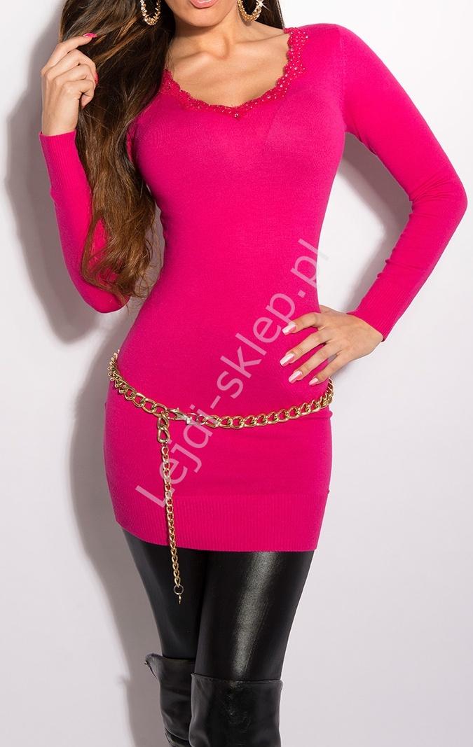 Klasyczna elegancka tunika w kolorze fuksja z koronkową taśmą na dekolcie, 8037 - Lejdi