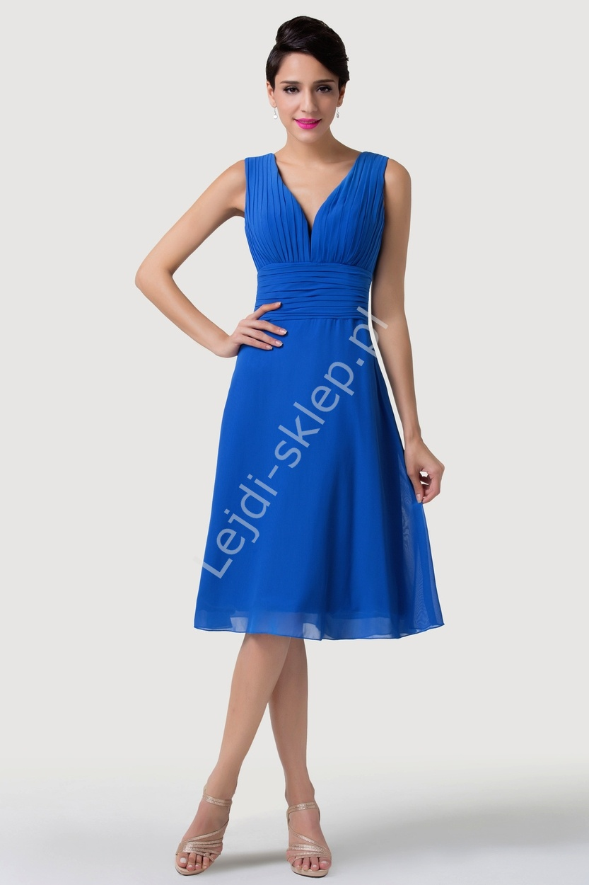 d857588042 Klasyczna prosta chabrowa sukienka za kolano z wiązaniem na plecach ...