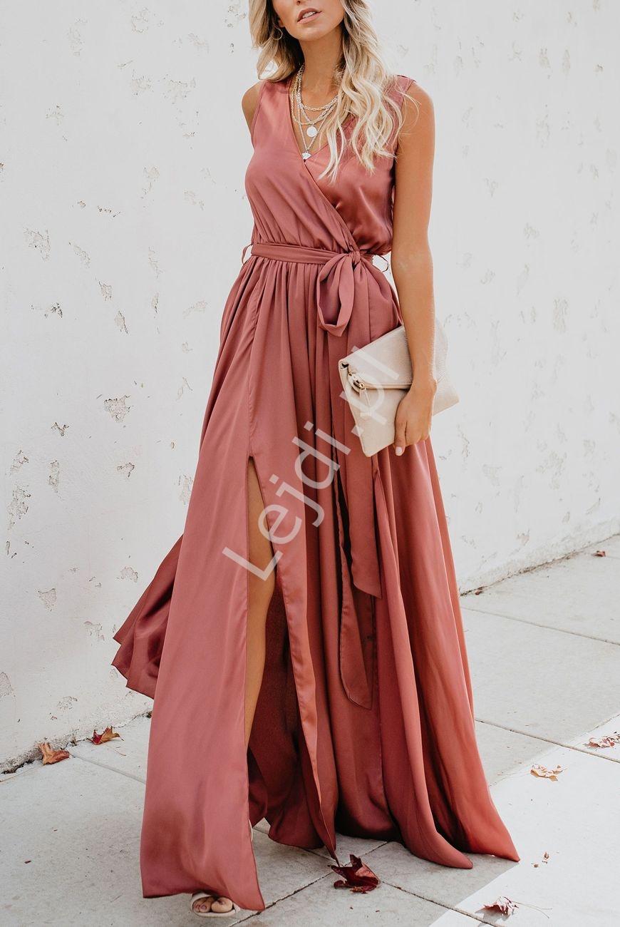 Klasyczna prosta długa sukienka w kolorze brudnego różu - Lejdi