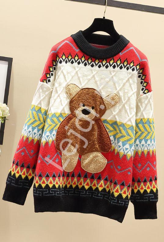 Kolorowy sweter z misiem - Lejdi