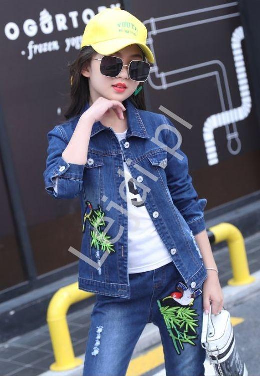 Komplet dziewczęcy - jeansy, kurtka jeansowa, bluzka - Lejdi