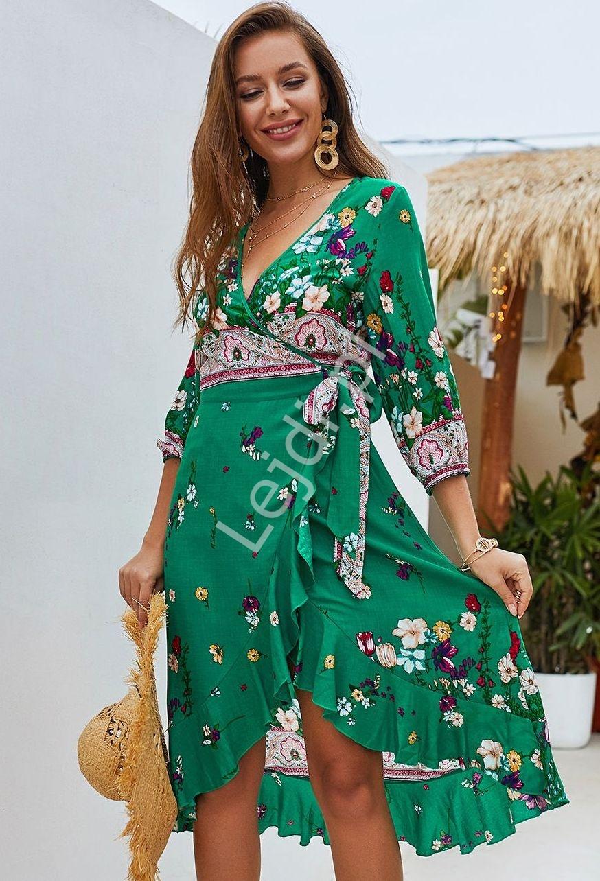 Kopertowa szmaragdowa sukienka w kwiaty na lato 110 - Lejdi