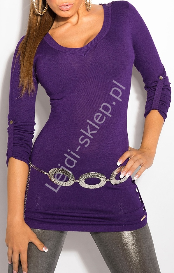 Fioletowy sweter z haftem na plecach / sweter z rękawem 3/4, 8011 - Lejdi