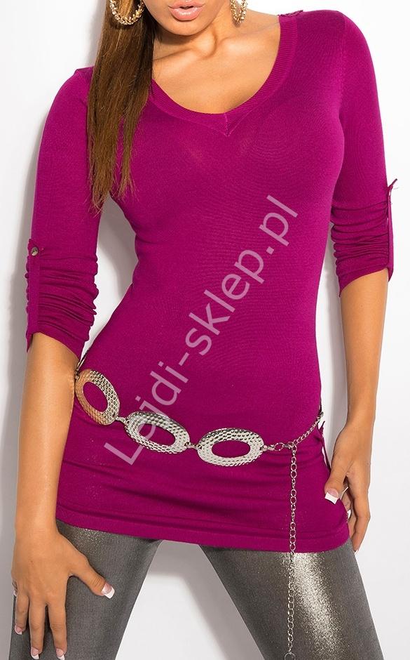 Amarantowy sweter z haftem na plecach / sweter z rękawem 3/4, 8011 - Lejdi
