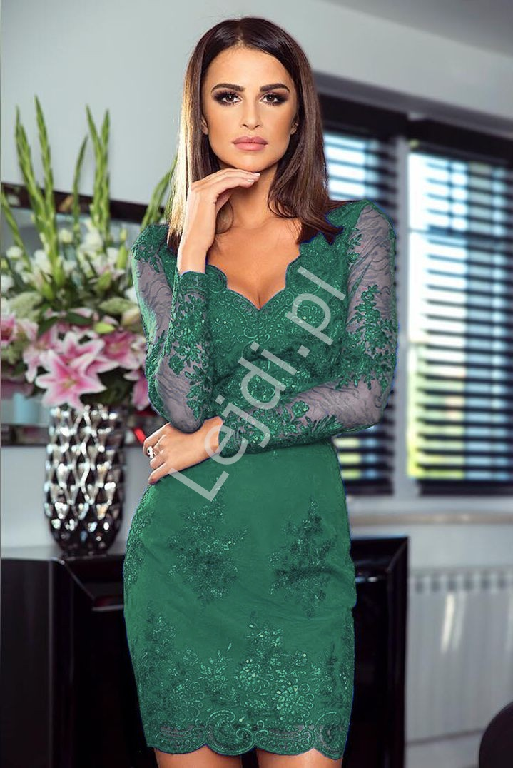 Sukienka na wesele dla mamy Panny Młodej/ mamy Pana Młodego |Koronkowa sukienka butelkowa zieleń Diana - Lejdi