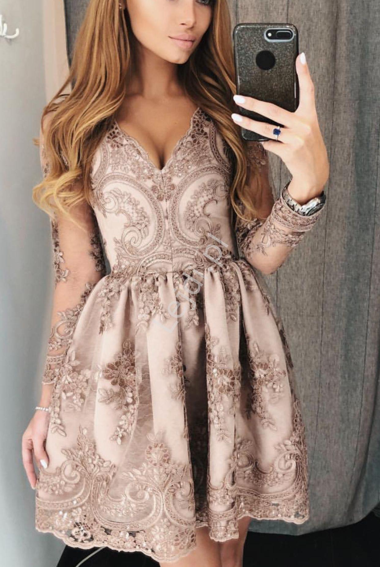 Sukienki na wesele, sukienka kawa z mlekiem Amelia - Lejdi