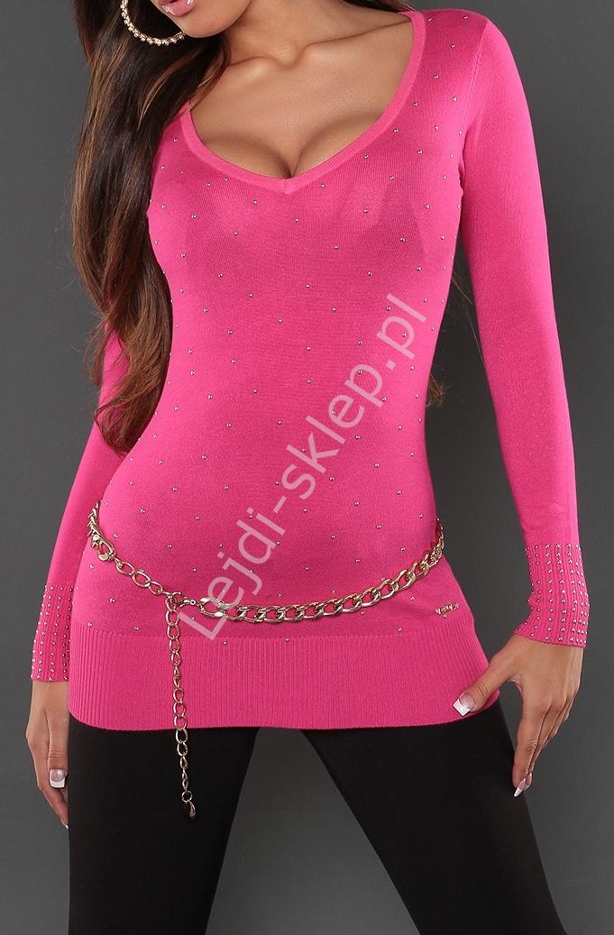 Różowa dzianinowa sukienka ze złotymi dżetami, 8052 - Lejdi