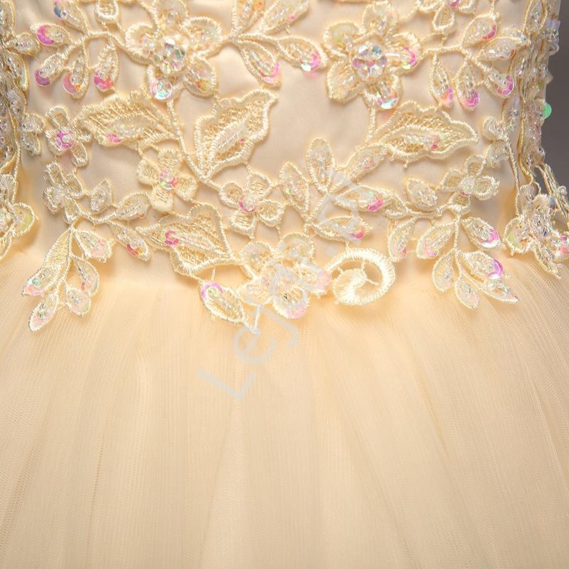 1c351b0e31 Złoto beżowa sukienka z obfitą tiulową spódnicą dla dziewczynek ...