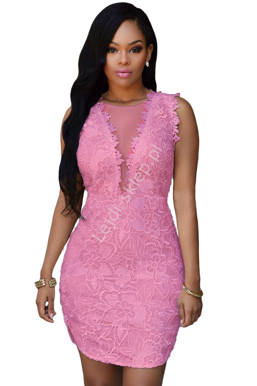 Koronkowa różowa sukienka | koronkowa minisukienka, różowa - Lejdi
