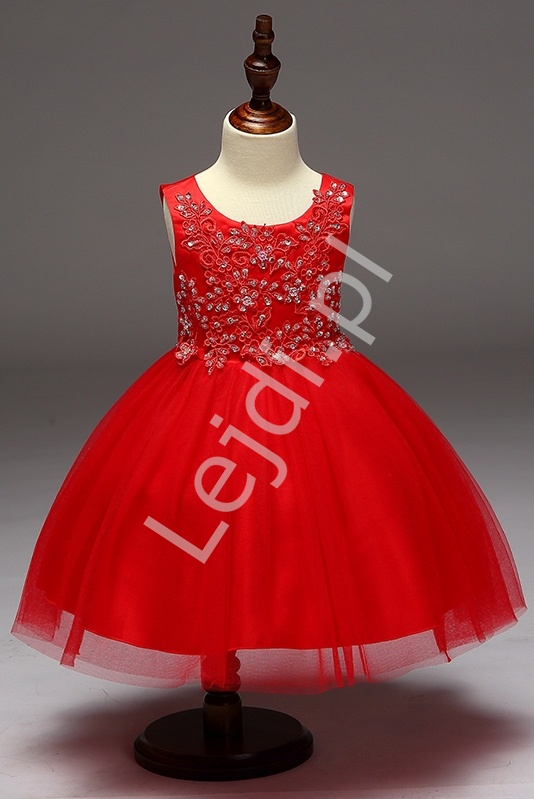 Czerwona sukienka z obfitą tiulową spódnicą dla dziewczynek - Lejdi