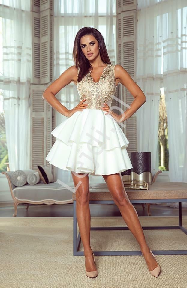 7643f06d2d8141 Sukienka wieczorowa z koronkową złotą górą i białą piankową spódnicą z  falbanami - Emma