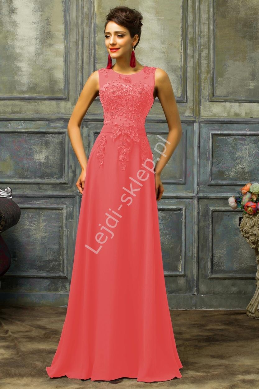 Koralowa długa suknia z perłami | koralowe długie sukienki, sukienka r.34 - r.54 - Lejdi