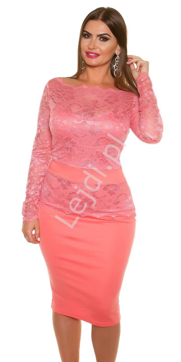 Koralowa elegancka sukienka koronkowa plus size 334p -6 | Sukienki koronkowe duże rozmiary - Lejdi