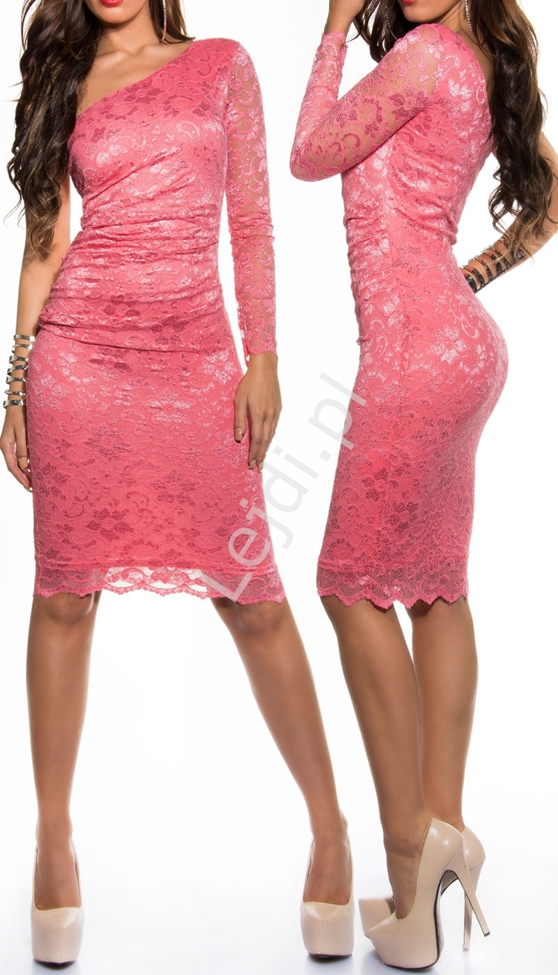 Koralowa koronkowa sukienka na jedno ramię , 358-4 - Lejdi