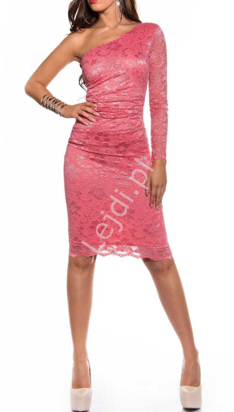 10037ebec5 Koralowa koronkowa sukienka na jedno ramię