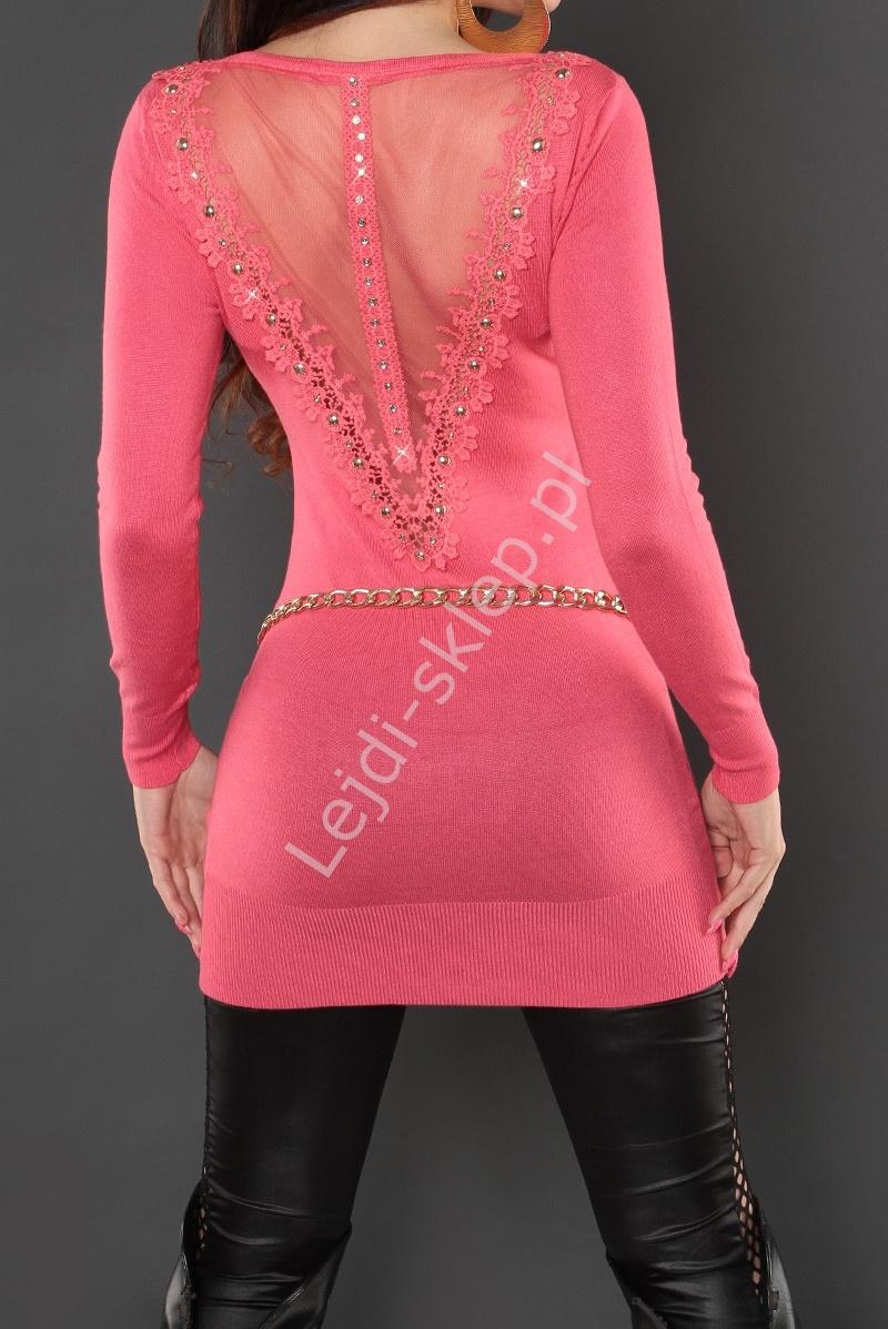 Koralowa tunika lub sukienka z taśmą gipiurową na plecach i cyrkoniami, 8084 - Lejdi