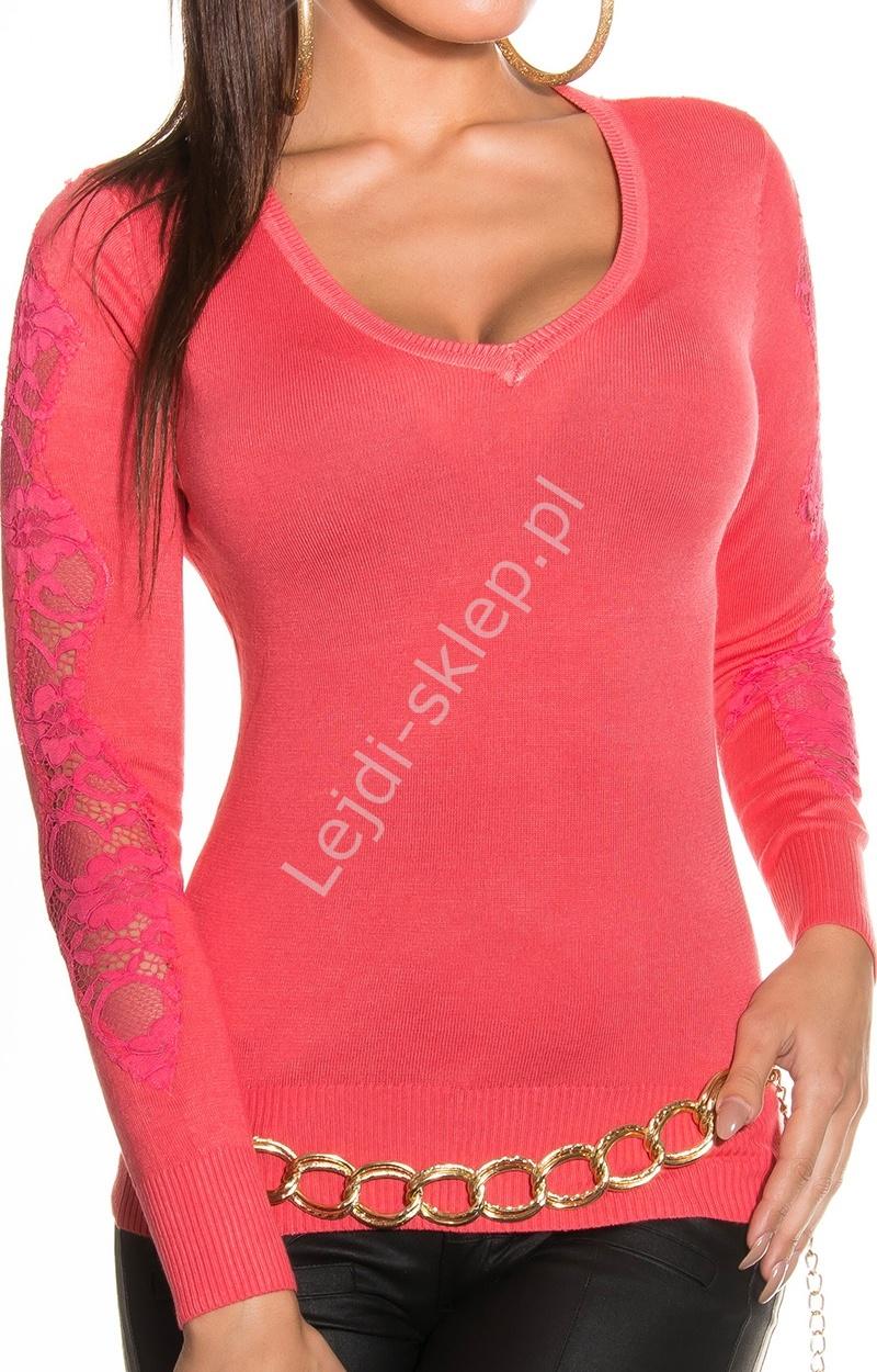 Koralowy sweter z koronką | swetry damskie, 1401 - Lejdi
