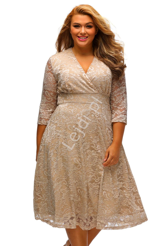 Koronkowa beżowa sukienka Plus Size | beżowe sukienki 442 - Lejdi