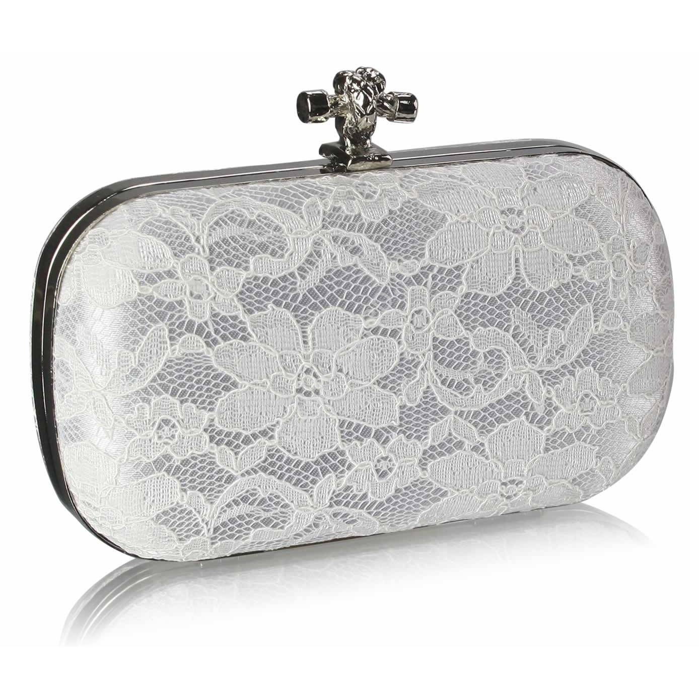Koronkowa biała torebka z węzełkiem | białe torebki, torebka ślubna