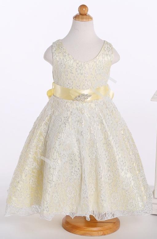Koronkowa biało złota sukienka dla dziewczynki | sukienki dla dziewczynki - Lejdi