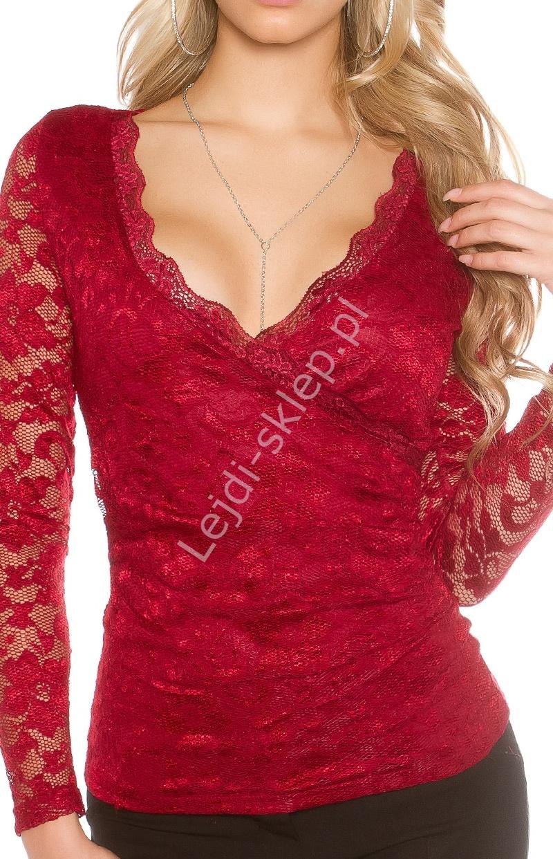 Koronkowa bluzka w kolorze ciemnego czerwonego wina - Lejdi