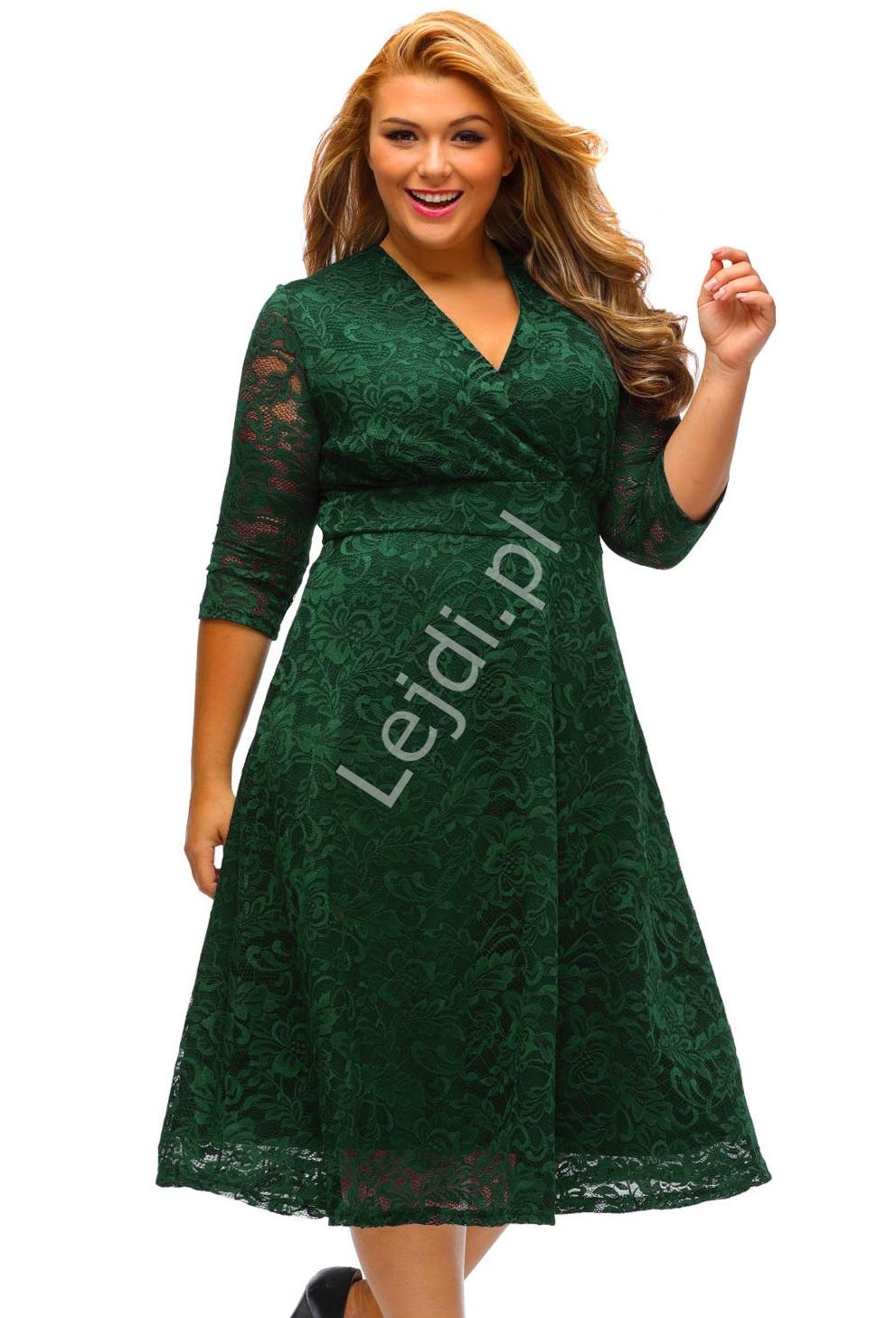 Koronkowa ciemno zielona sukienka Plus Size | zielone sukienki 442 - Lejdi
