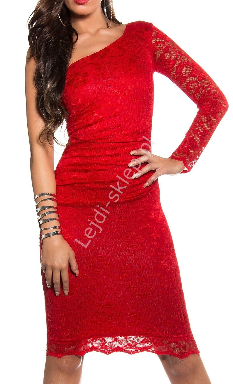 Koronkowa czerwona sukienka na jedno ramię , 358-1 - Lejdi