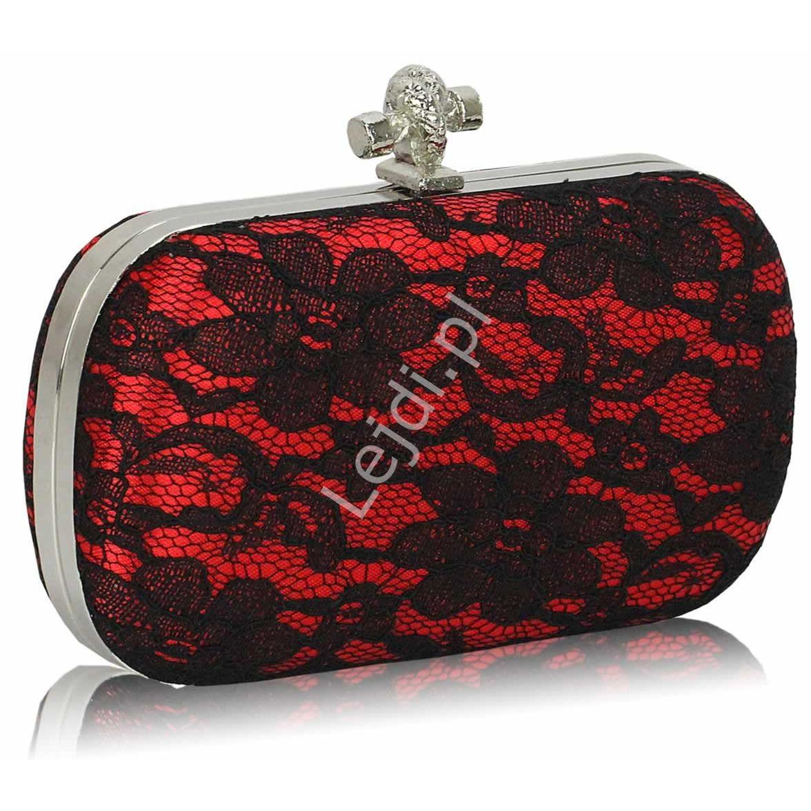 Koronkowa czerwona torebka z węzełkiem | czarna koronka, torebka wieczorowa