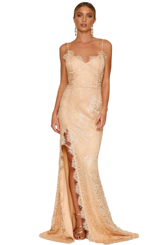 Koronkowa długa sukienka wieczorowa, beżowa 696 - Lejdi