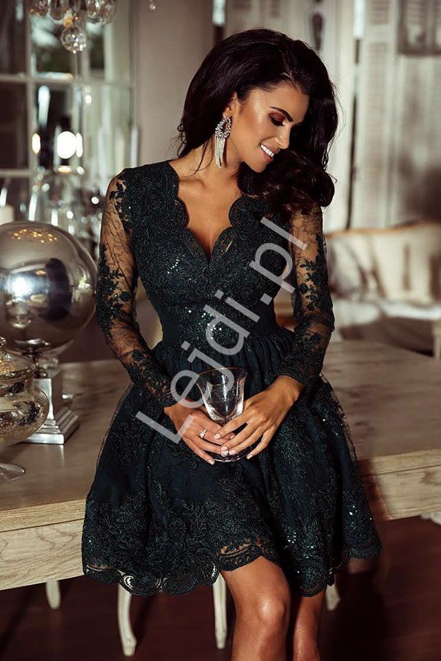 Czarna sukienka z koronki Amelia - Lejdi