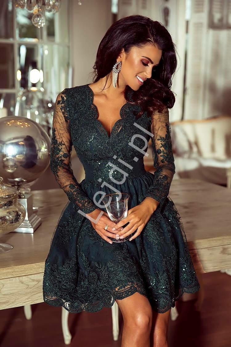 e5fd19ce1b Koronkowa elegancka rozkloszowana sukienka butelkowa zieleń - Amelia ...