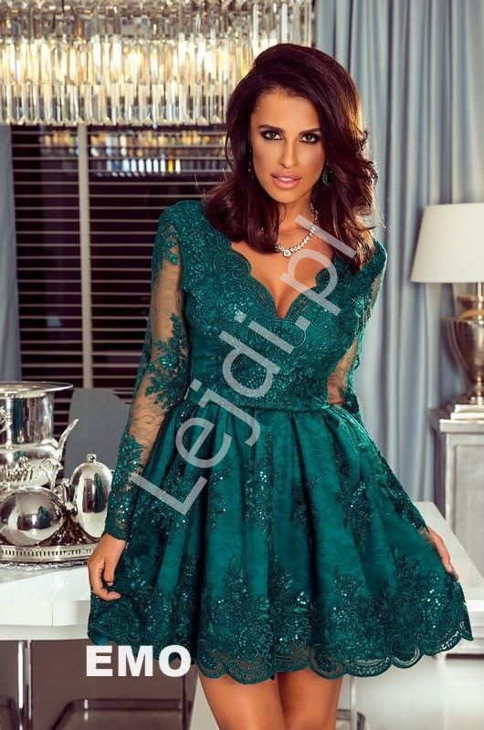Koronkowa elegancka rozkloszowana sukienka butelkowa zieleń - Amelia - Lejdi