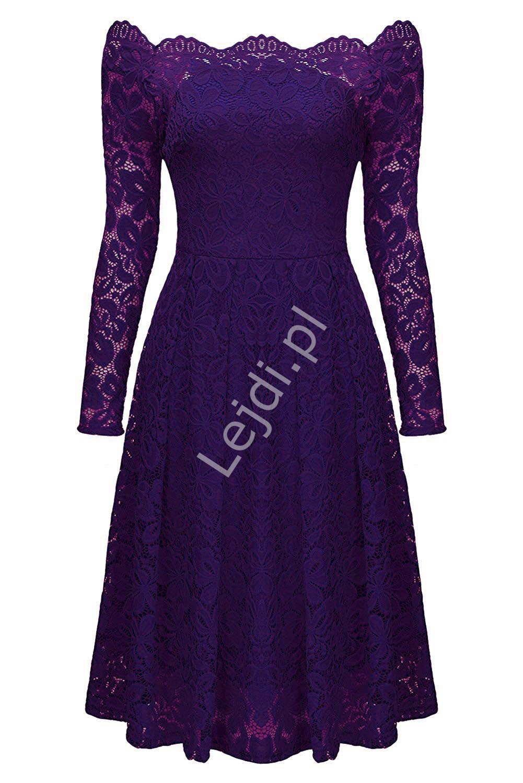 Koronkowa fioletowa sukienka z dekoltem typu carmen 427 -6 - Lejdi