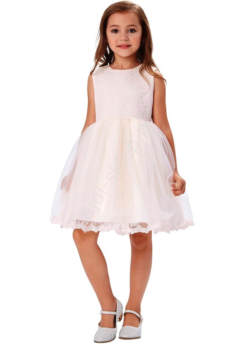 Koronkowa jasnoróżowa sukienka z tiulem | podszyta tiulowymi podszewkami - Lejdi