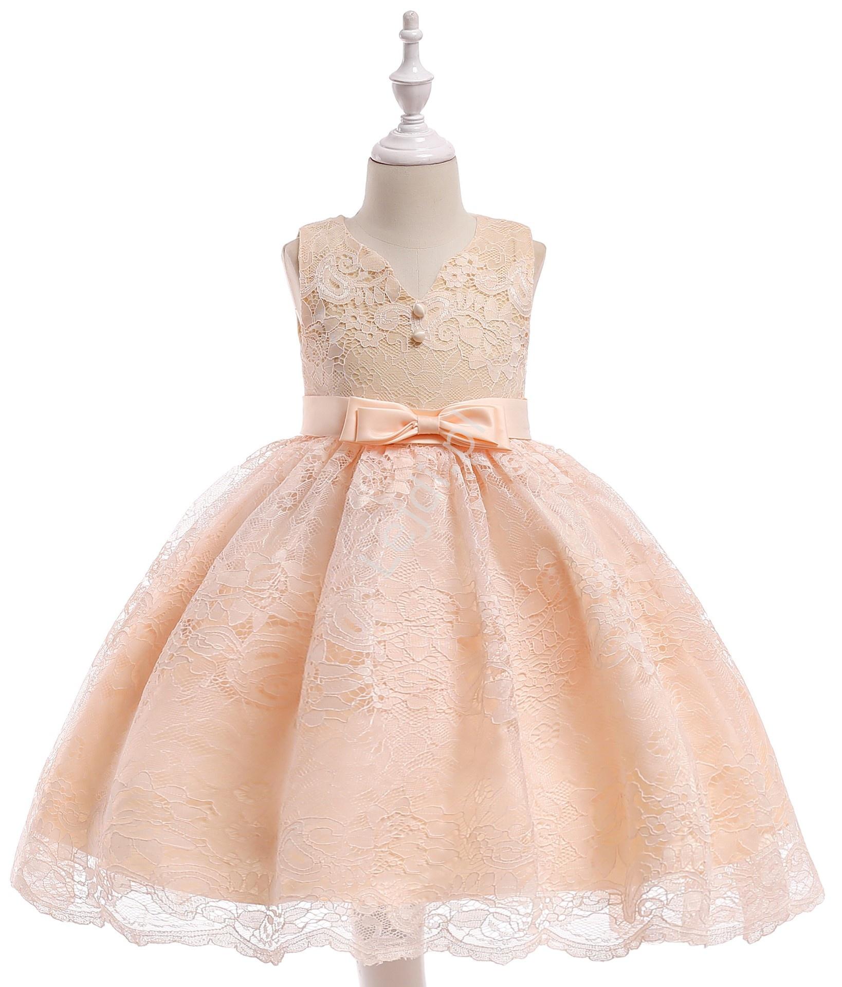 Koronkowa sukienka dla dziewczynki z kokardami - szampańska - Lejdi
