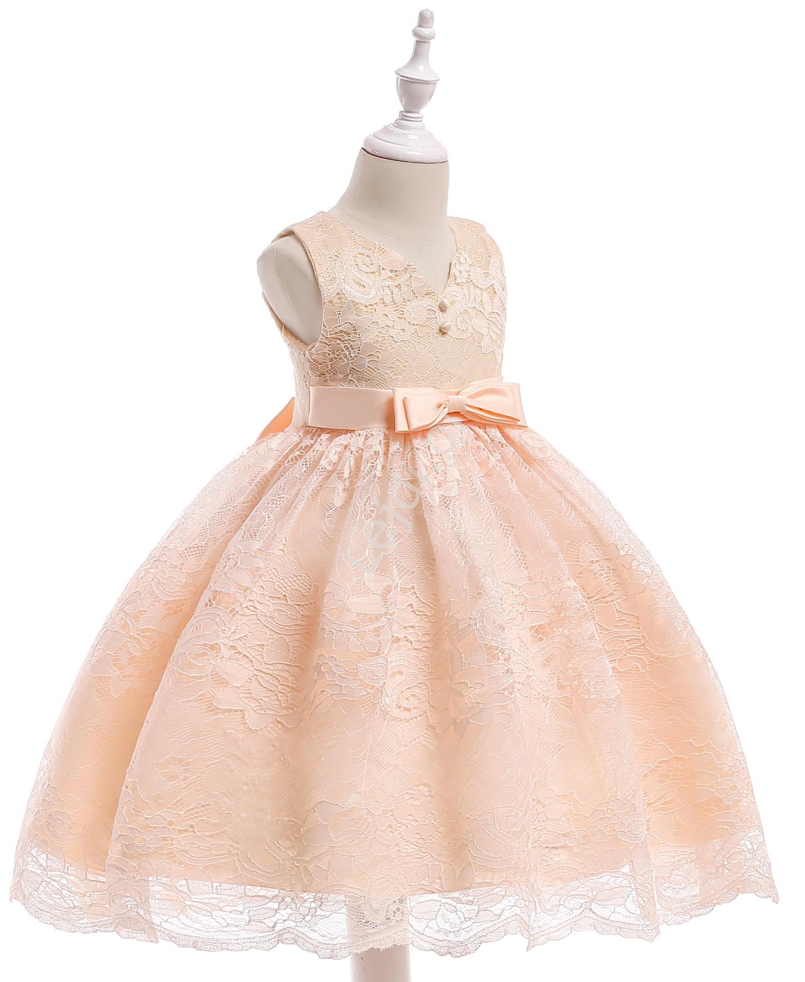 a2b24c7e82 Koronkowa sukienka dla dziewczynki z kokardami - szampańska - Lejdi.pl