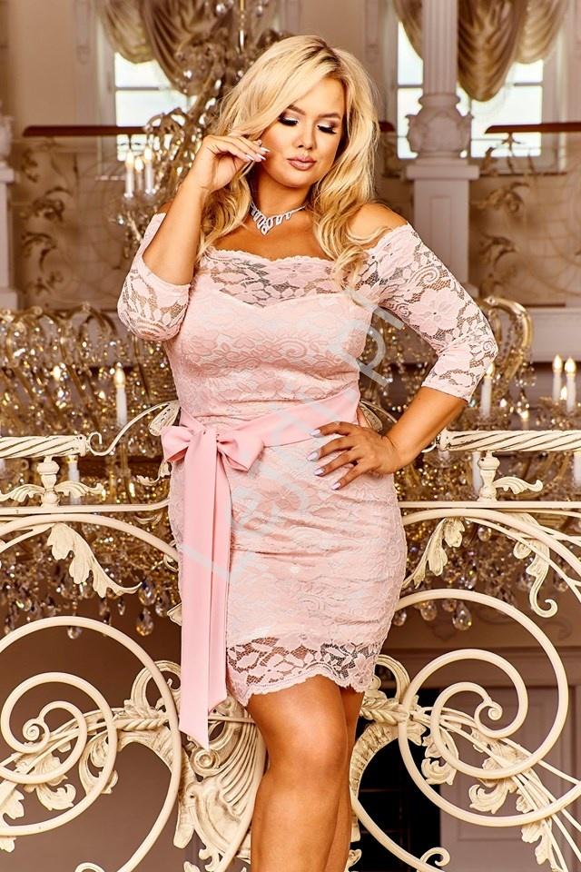 Koronkowa sukienka elegancka z paseczkiem, różowa - Veronica - Lejdi