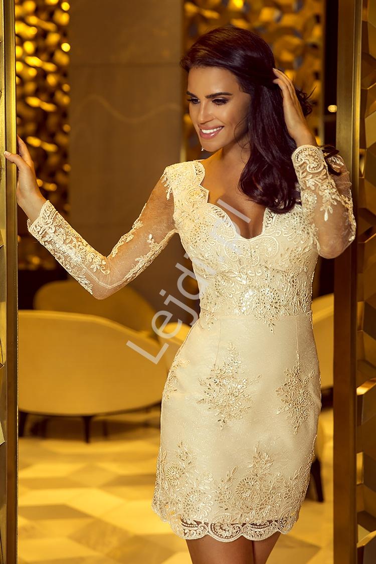 Koronkowa sukienka na wesele, złota Diana - Lejdi