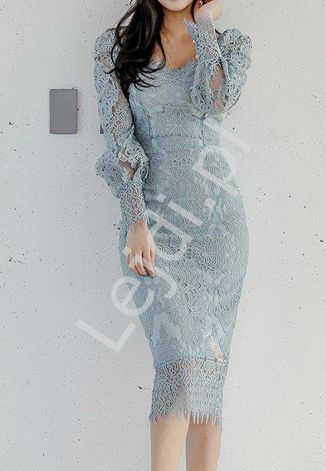 Koronkowa sukienka ołówkowa w szarym kolorze, elegancka sukienka na wesele, komunię, chrzciny 6469 - Lejdi