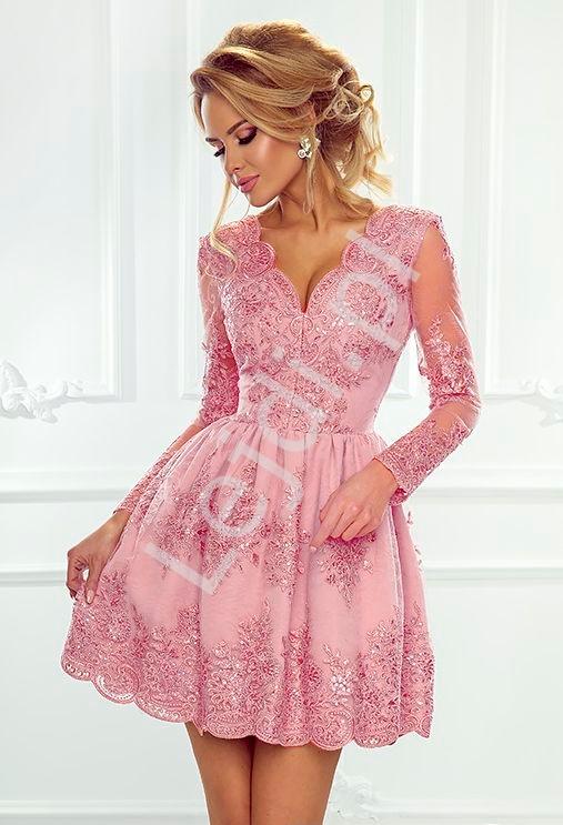 Koronkowa sukienka wieczorowa, cukierkowy róż - Amelia - Lejdi